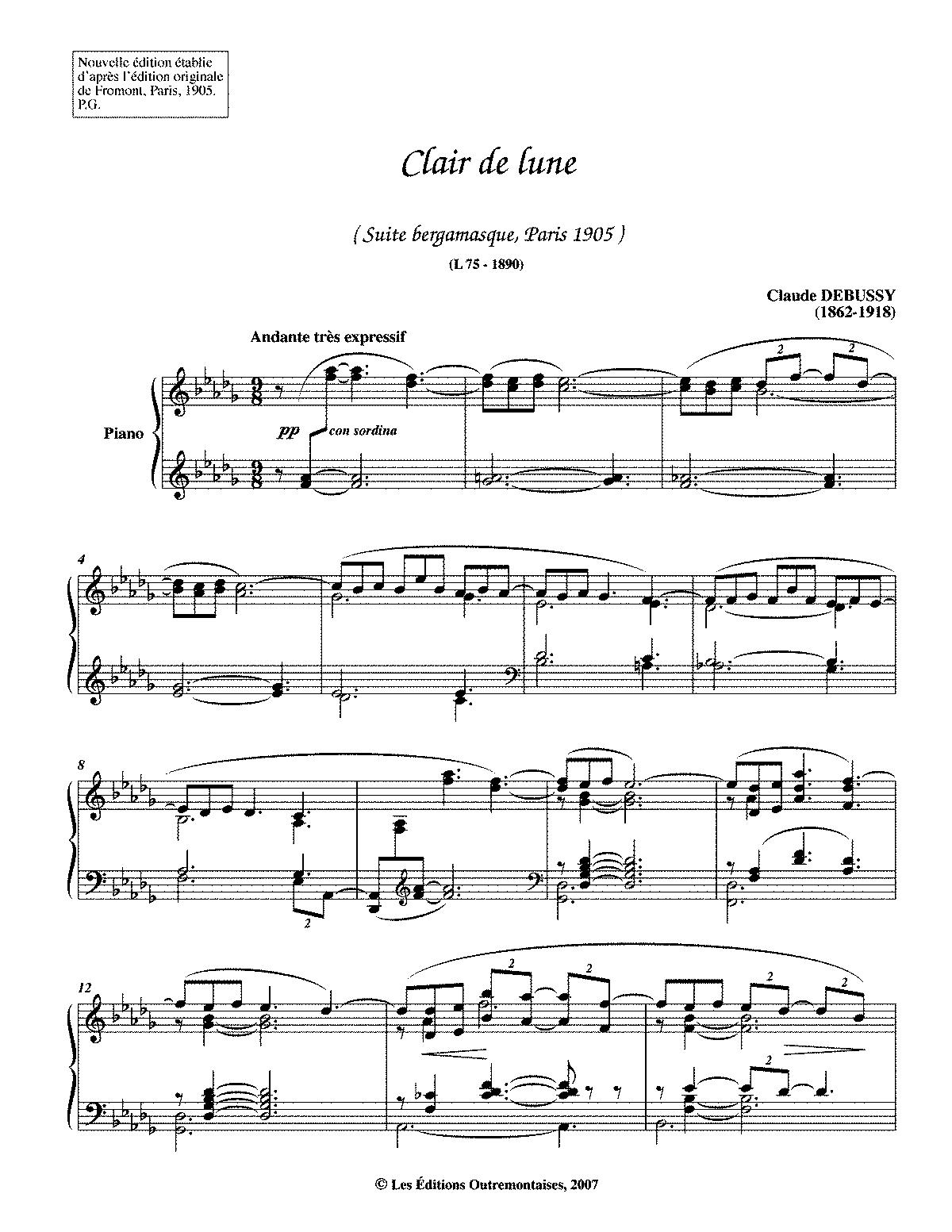 Clair De Lune De La Suite Bergamasque Andante Tres Expressif
