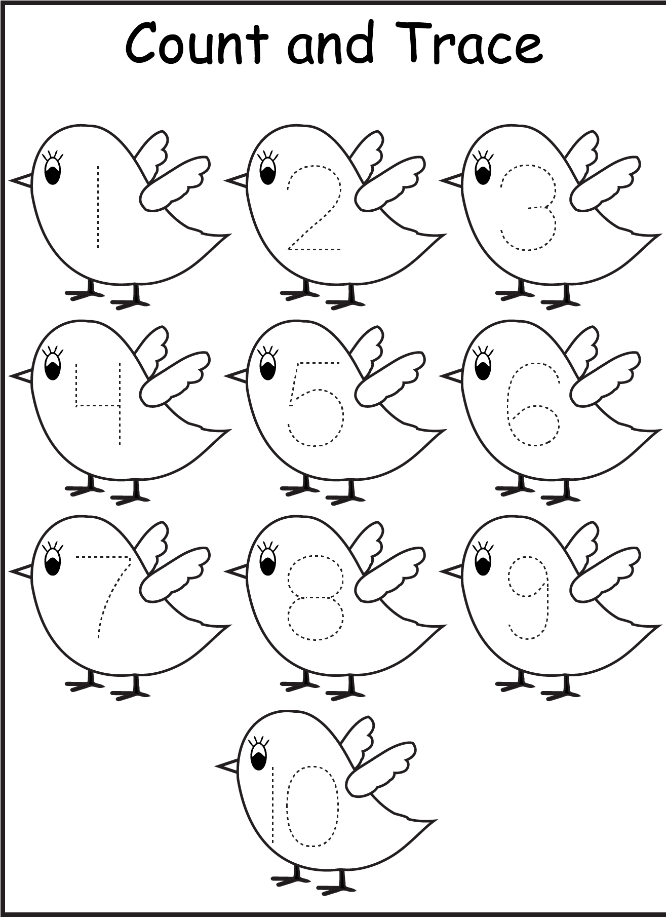 Ten Beautiful Bird Coloring Page