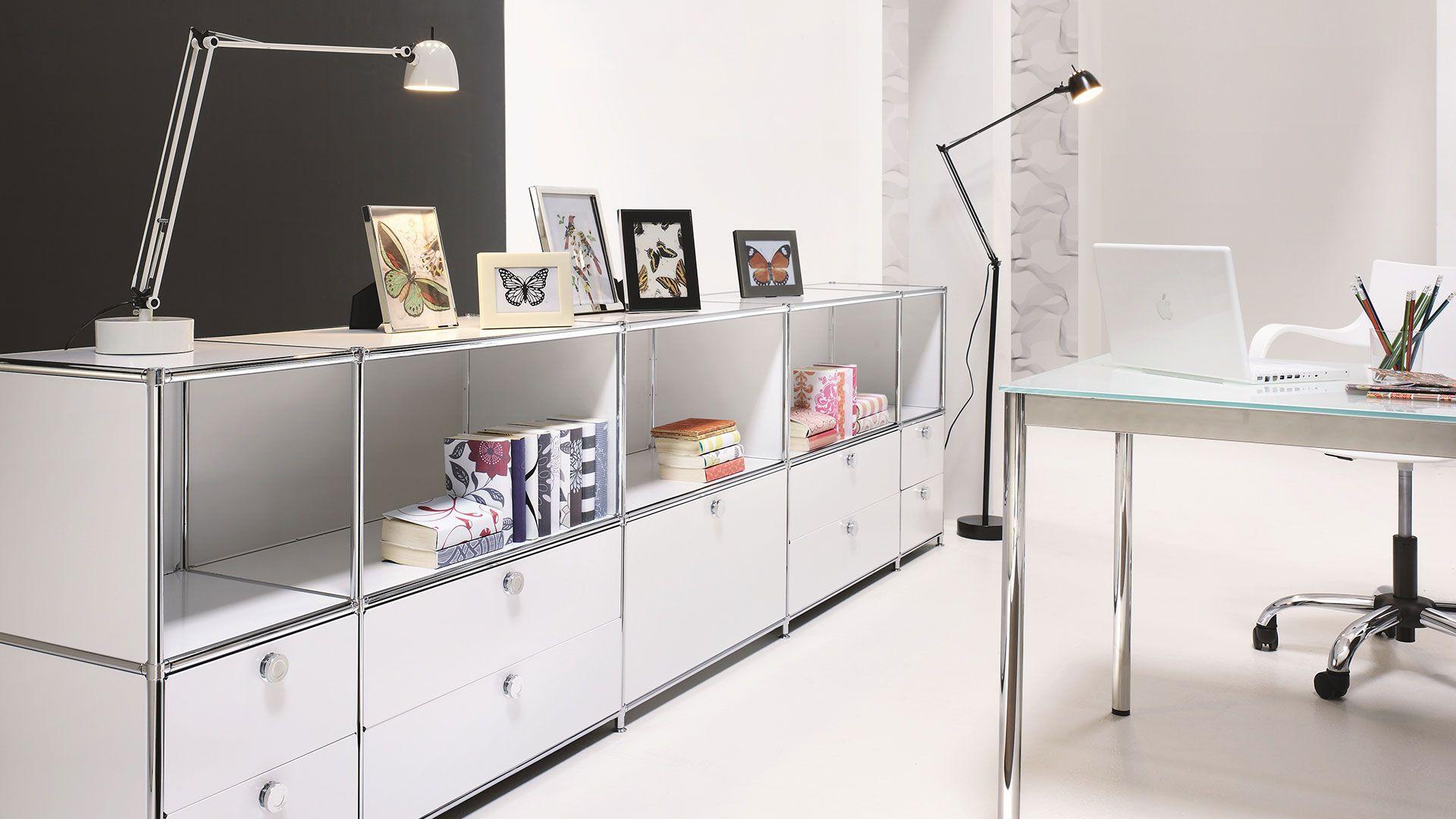 Buerowand - Regalwand mit Metall Ausziehtueren und Metallklapptüren ...
