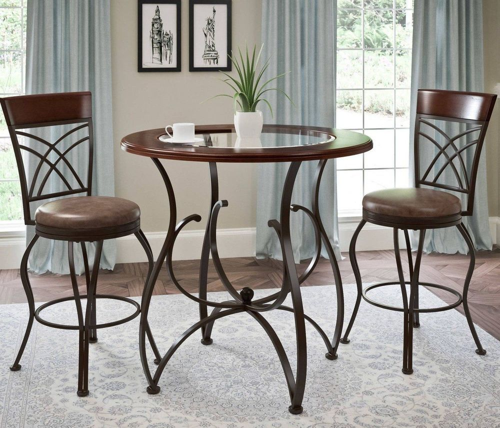 3 Piece Dining Set Table Counter Height Chairs Rustic Barstool And Pub Furniture 3piecediningset Bistro Table Set Kitchen Table Settings Bistro Table Pub table and chairs for sale