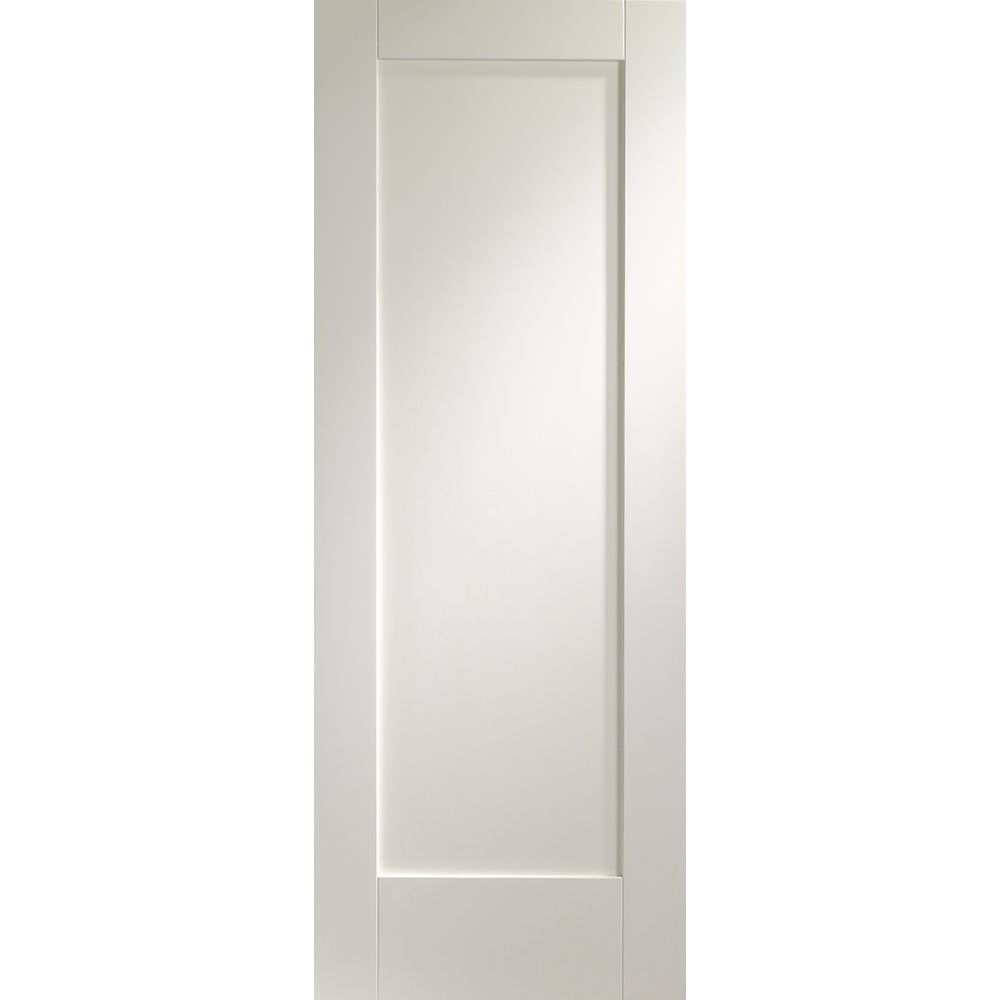An unfinished internal white primed FD30 fire door with one inset rectangular panel. This Pattern 10 door is a very popular, simplistic style door. Also available as a standard door. | J002811C