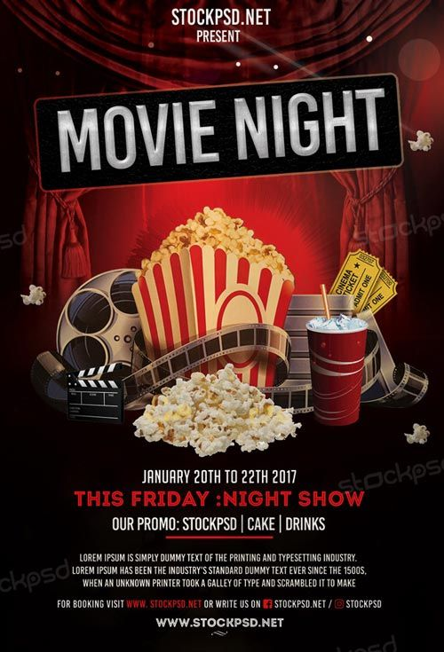 Movie Night Free Flyer Template - http://freepsdflyer.com/movie ...