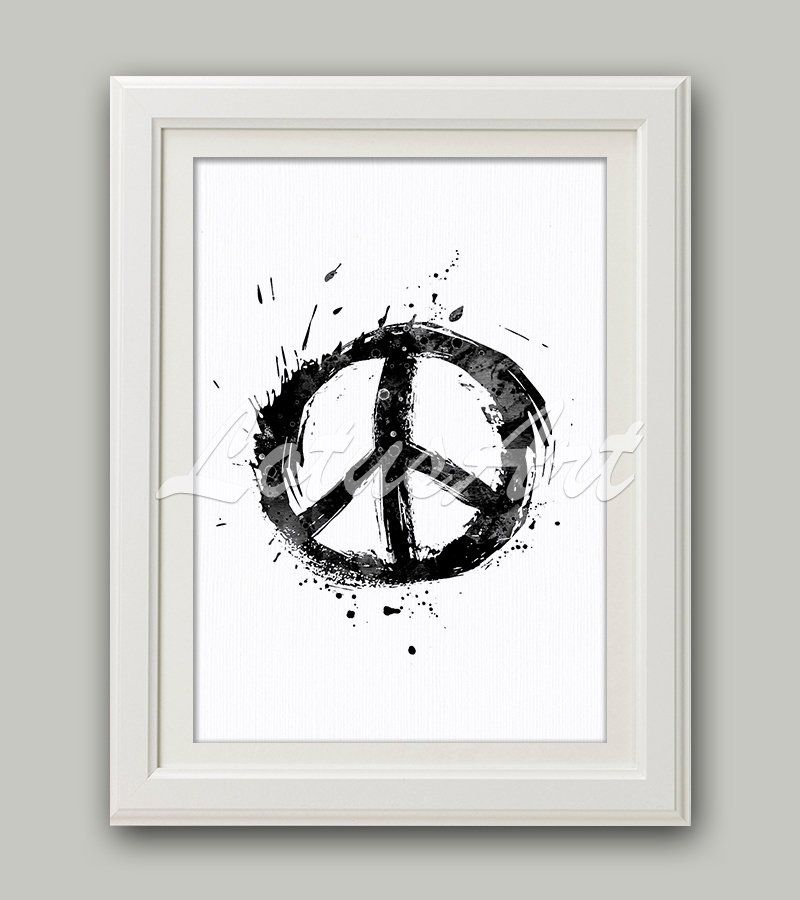 Peace Sign Wall Art Peace Sign Watercolor Peace Sign Poster Peace Symbol Wall Art Home Decor Urban Art Peace Sym Peace Sign Wall Art Art Wall Kids Hippie Decor