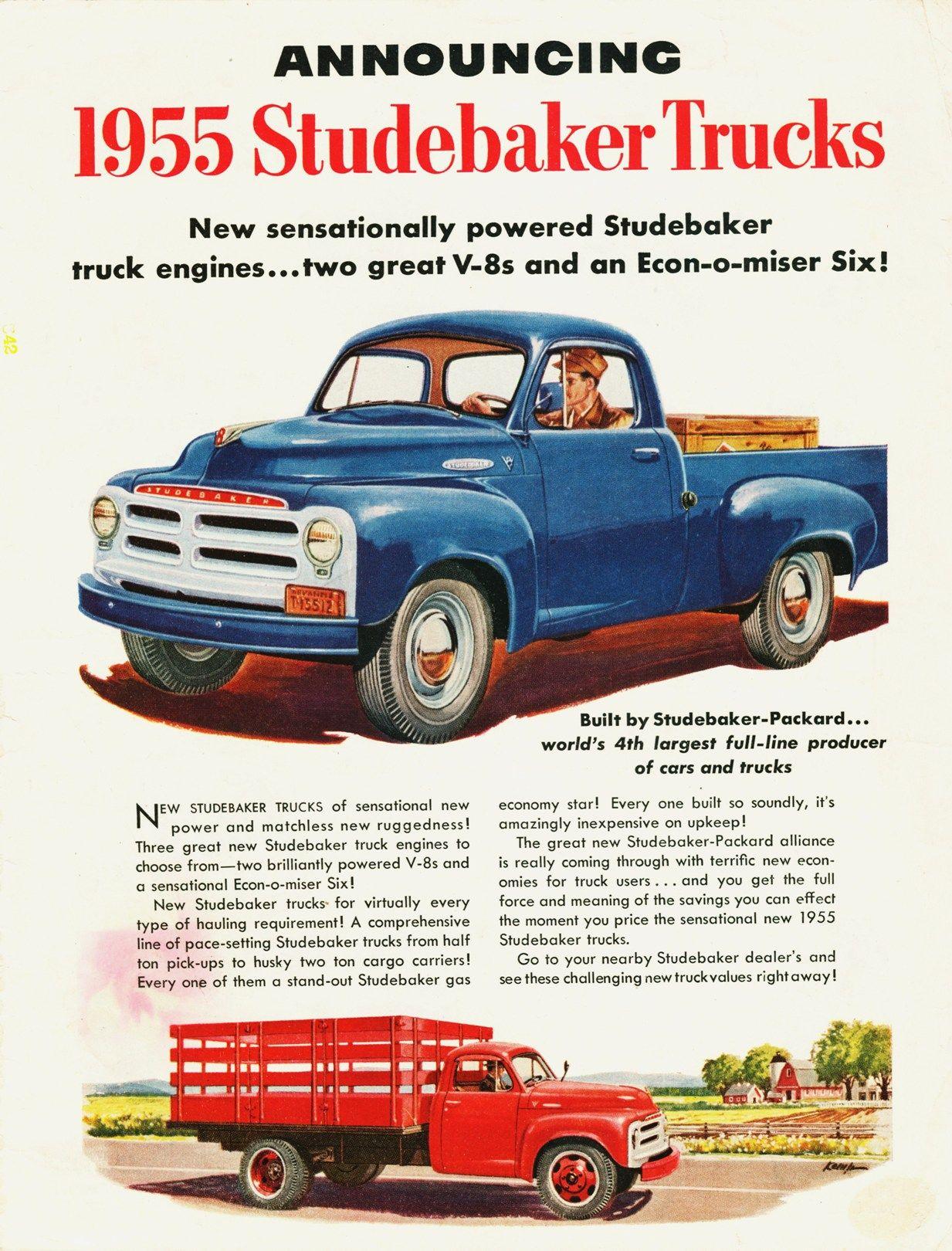 1955 Studebaker Truck Ad- | Studebaker - Packard | Pinterest | Ads ...