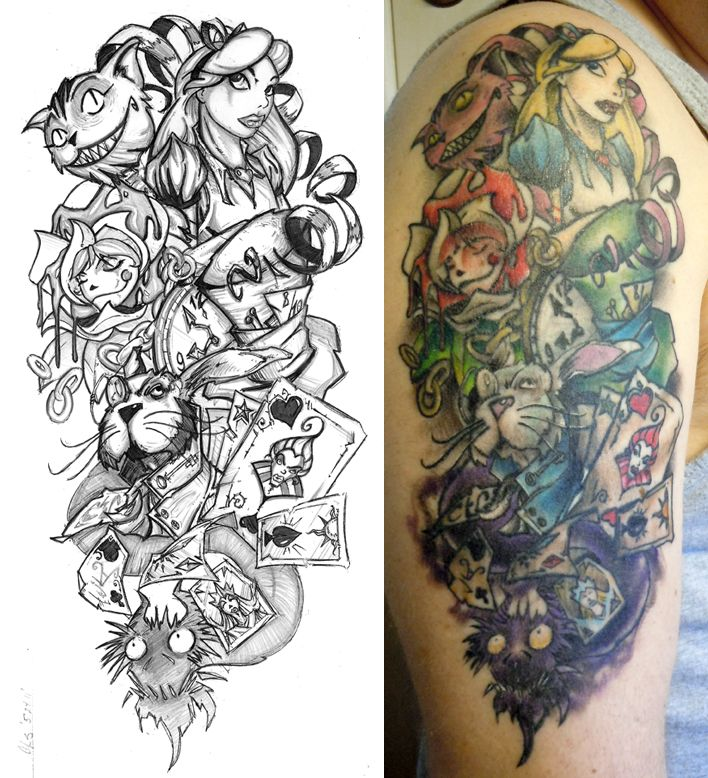 Alice half sleeve finished by cogitat on deviantart sexy for Half sleeve tattoo sketches