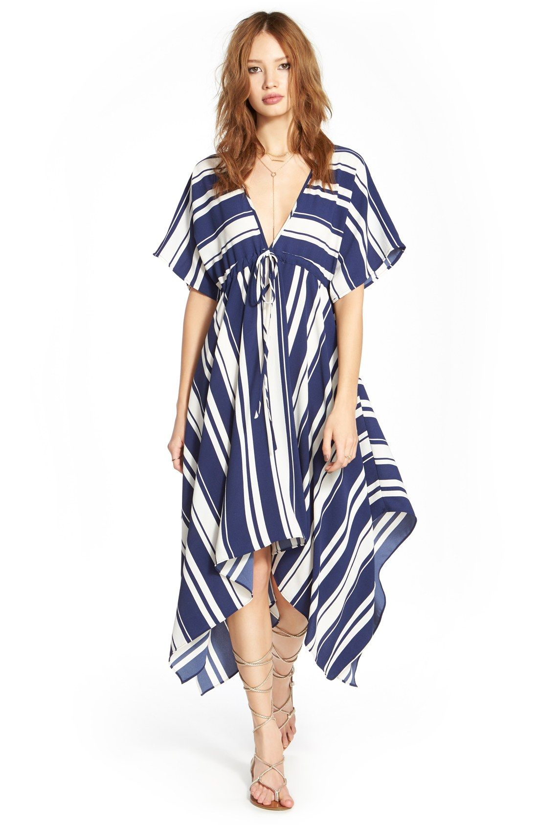 Wide stripes in a fresh nautical palette intersect on this handkerchief-hem midi dress with a plunging V-neckline and short kimono sleeves.