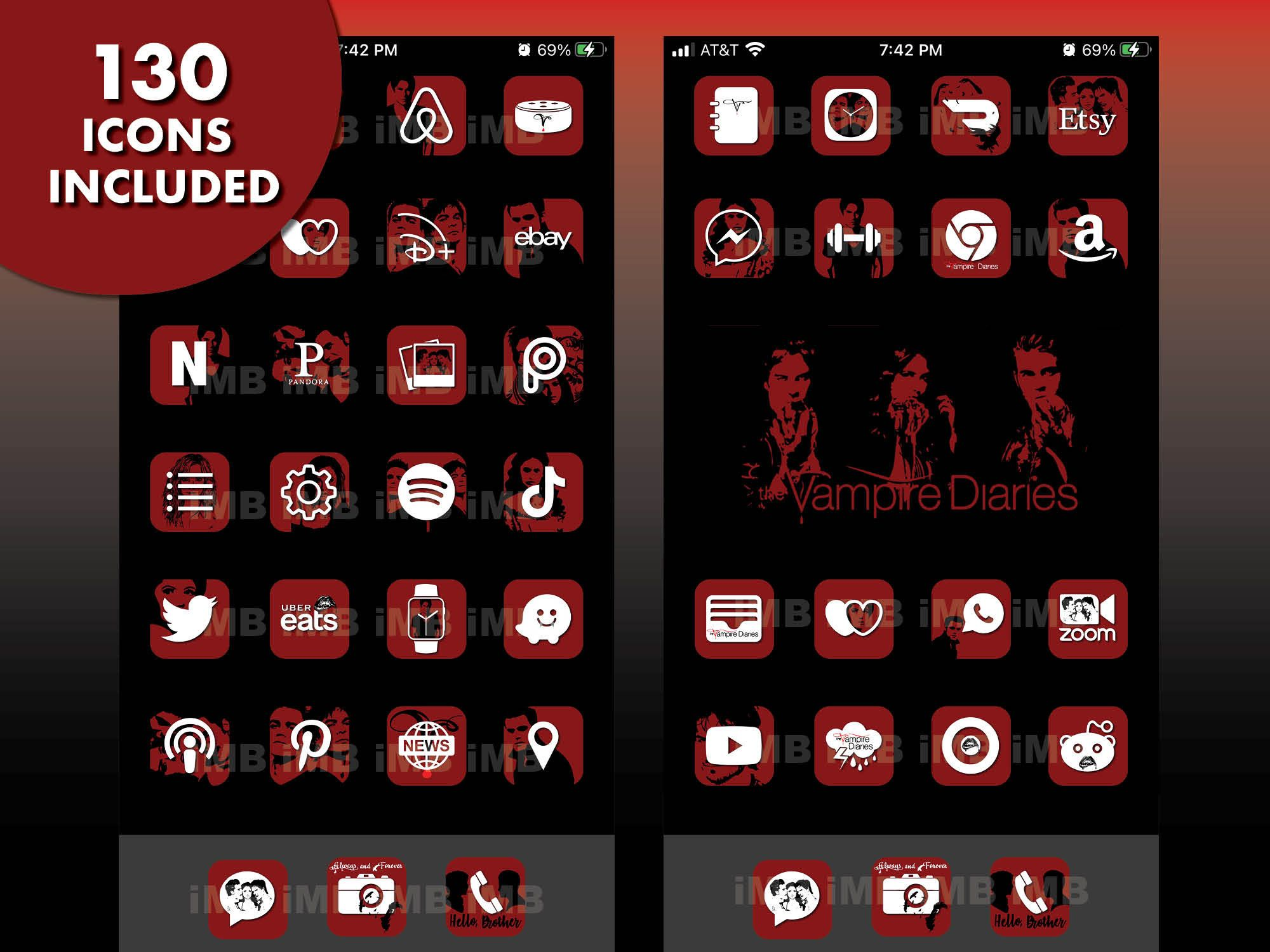 Ios 14 Icons The Vampire Diaries Includes 130 Iphone App Etsy App Store Icon Iphone Apps Vampire Diaries