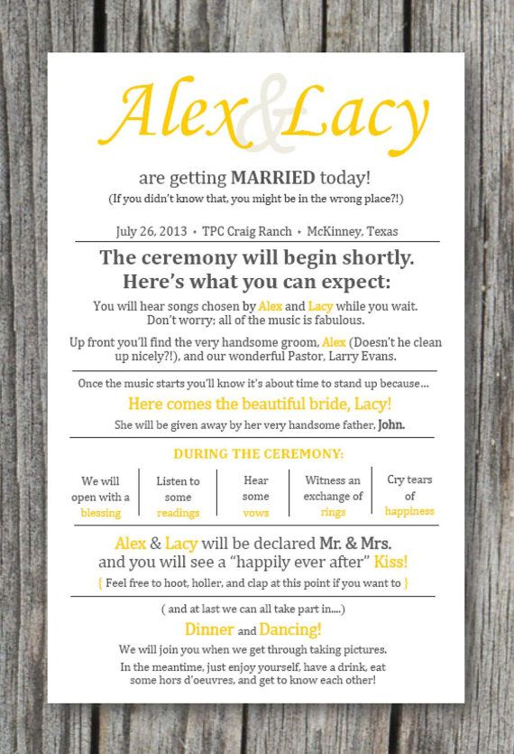Wedding Ceremony Program Printable Or Shipped To You Totally Customizable Colors And La Wedding Ceremony Programs Rustic Wedding Ceremony Ceremony Programs