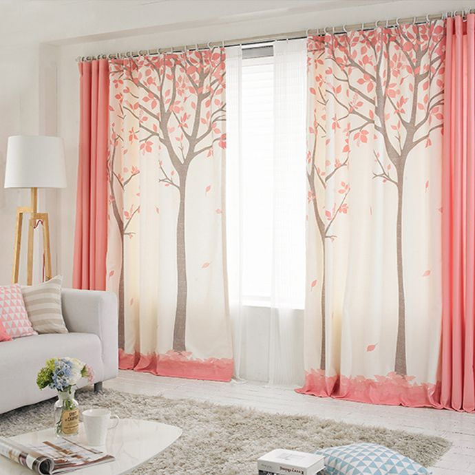 rideaux originaux couleur rose et blanc motif arbres style. Black Bedroom Furniture Sets. Home Design Ideas