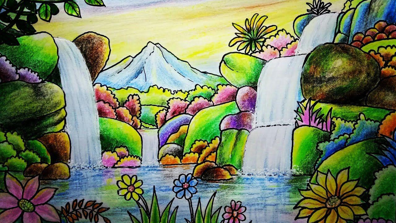 Gambar Pemandangan Air Terjun Lukisan Pemandangan Gambar