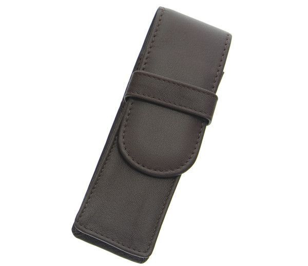 Royce Leather Double Pen Case Coco Brown