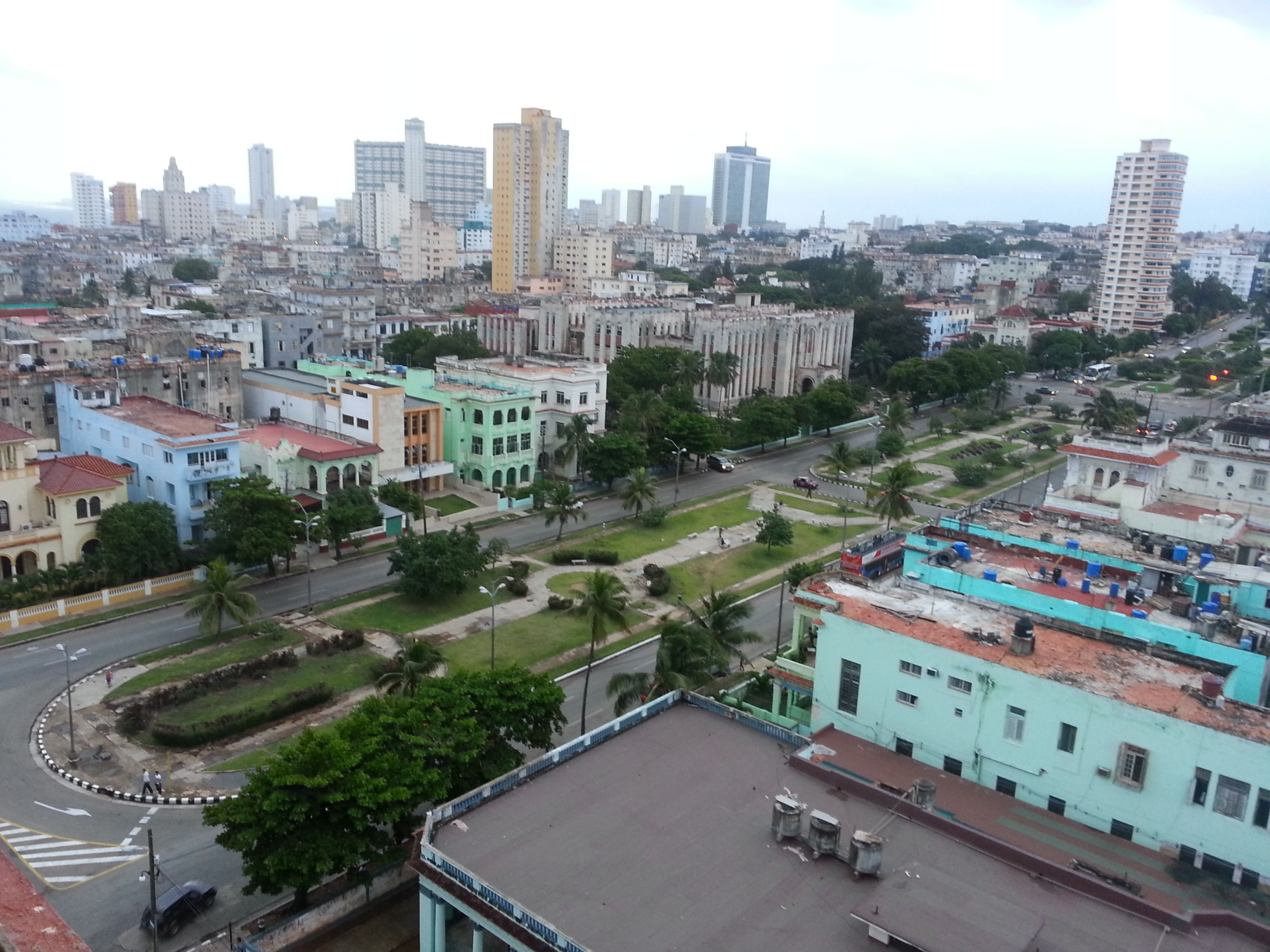 View of Havana from Hotel Presidente, Nov. 2013. Notice the lack of cars on the street. This was in the early evening. Most Cubans can't afford a car.