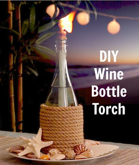Wine Bottle Tiki Torch Oil Lamp: http://www.completely-coastal.com/2016/05/wine-bottle-tiki-torch-oil-lamps-nautical-beach-theme.html How to make a tiki torch oil lamp with a wine bottle!