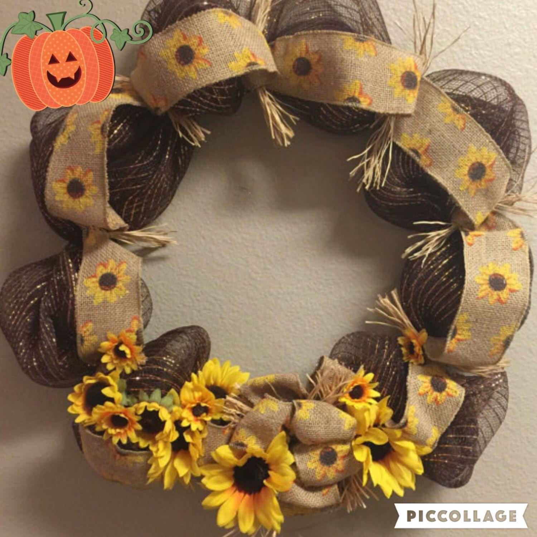 Sunflower fall wreath Fall deco mesh wreaths for front door Fall wreaths Everyday wreath Fall burlap wreath by DebDebsCrafts on Etsy https://www.etsy.com/listing/464119551/sunflower-fall-wreath-fall-deco-mesh