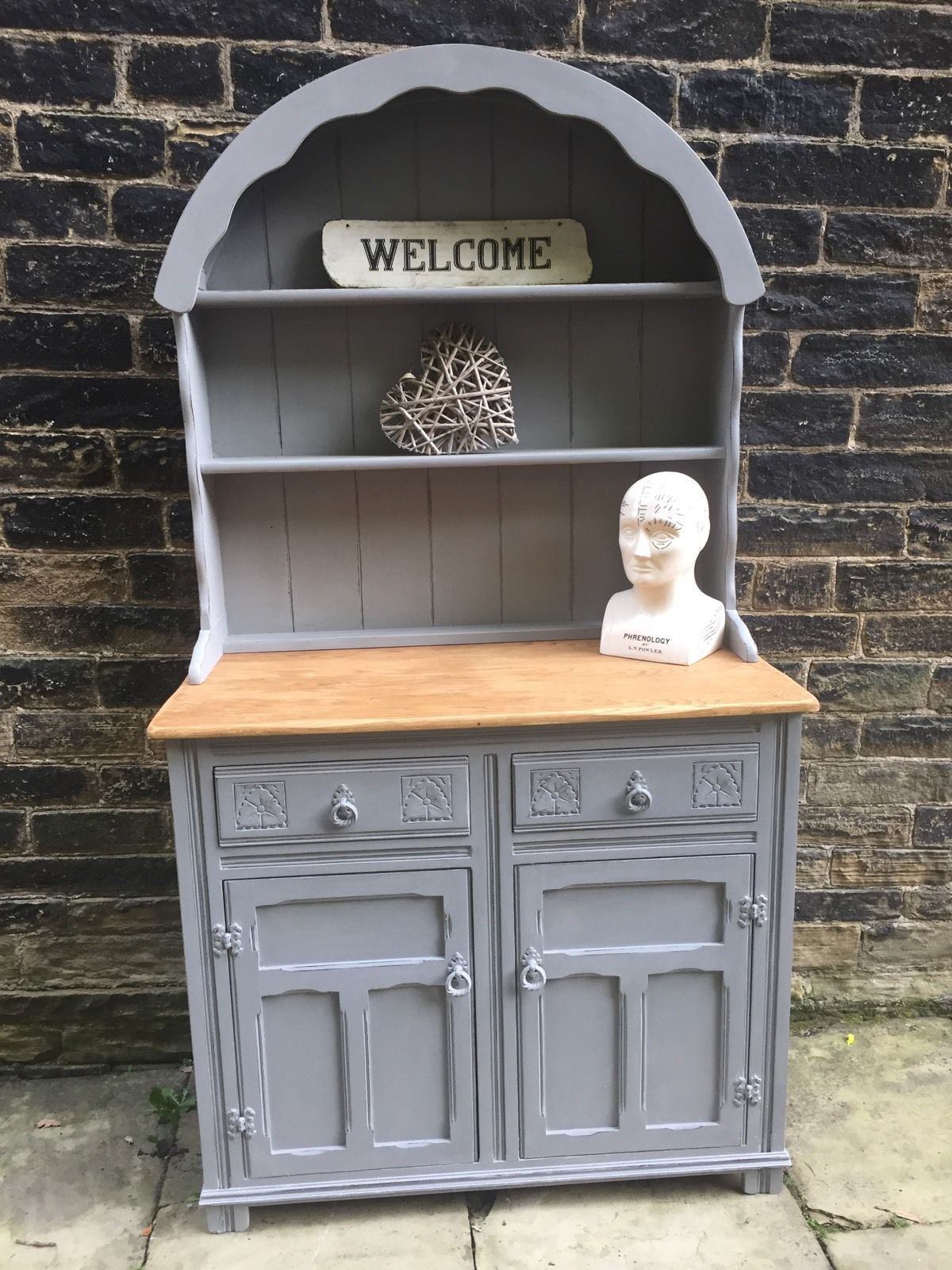 Painting furniture shabby chic - Rustic Industrial Shabby Chic Painted Welsh Dutch Dresser Annie Sloan Paris Grey