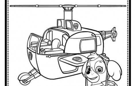 Skye And Helicopter PAW Patrol Coloring Page | Paw Patrol ...
