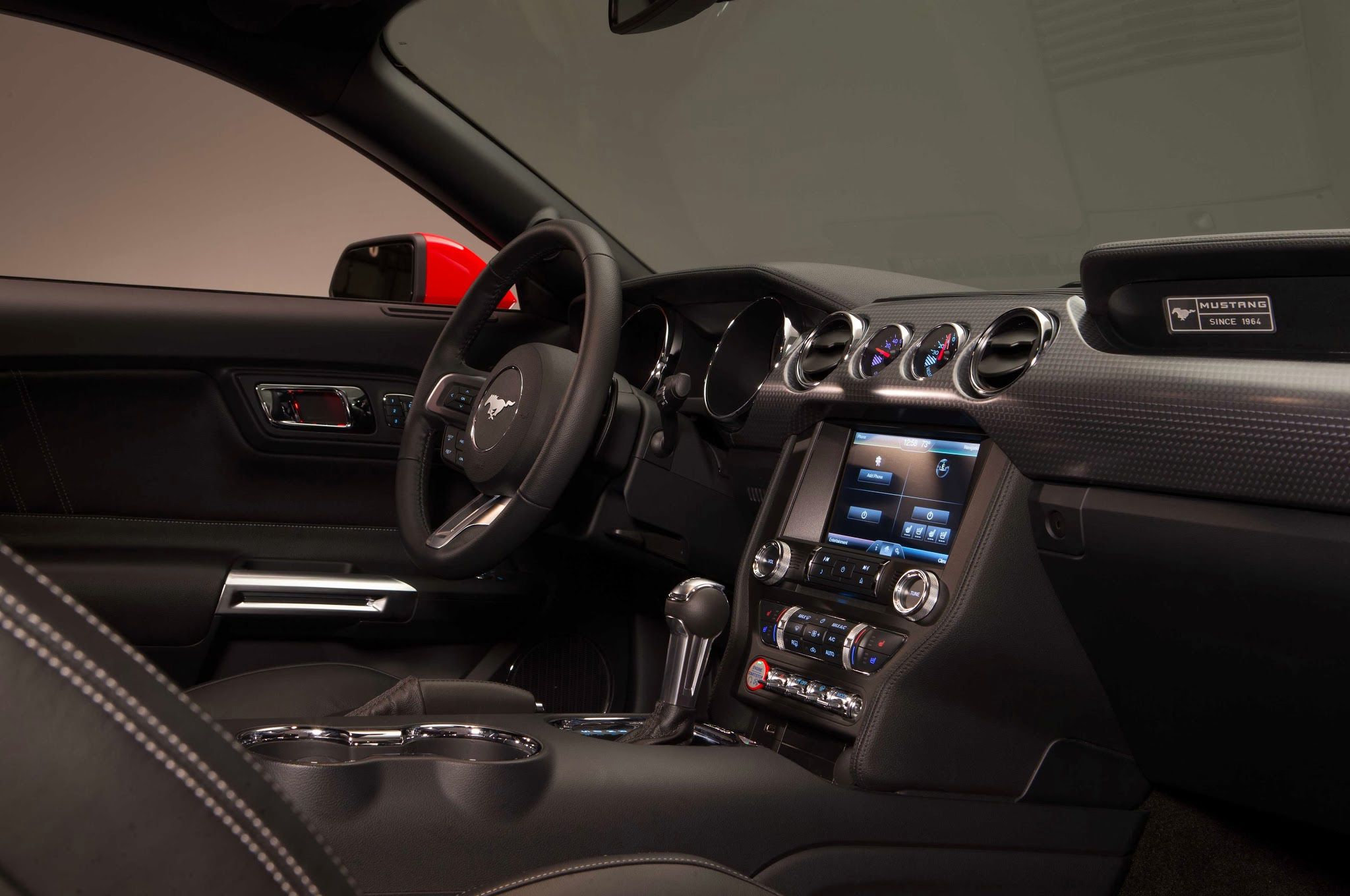 2015 ford mustang 50 red interior from passenger side