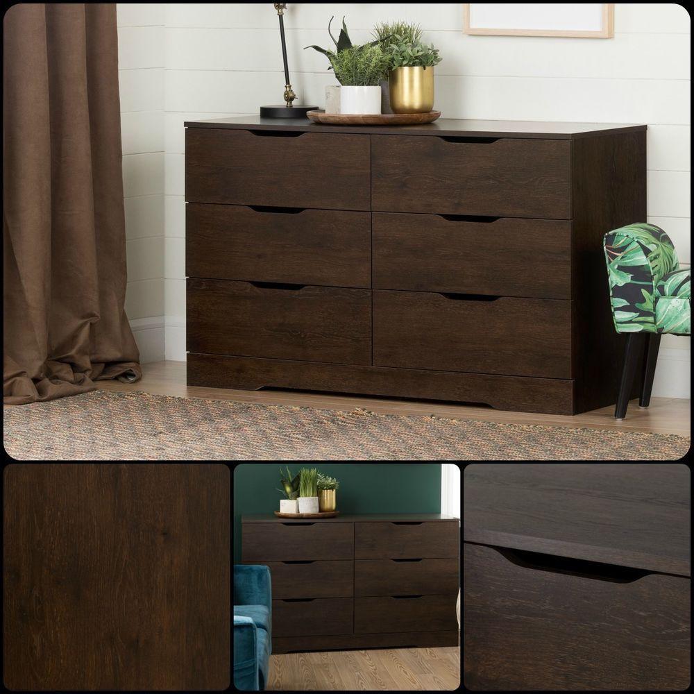 6 Drawer Chest Dresser Double Bedroom Wood Furniture Storage Modern Decor Brown Storage Furniture Bedroom 6 Drawer Dresser Furniture [ 1000 x 1000 Pixel ]