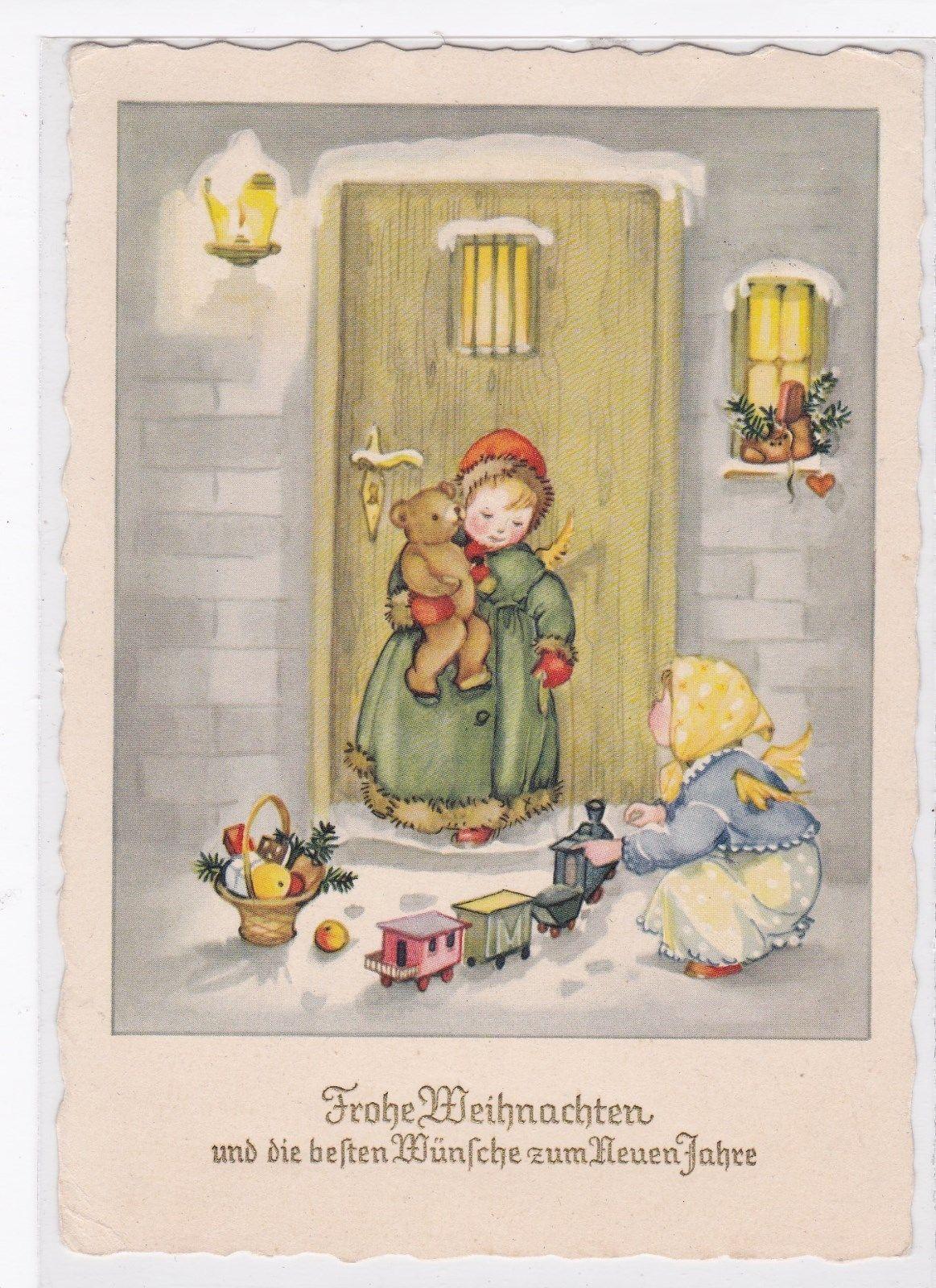 Nostalgische Weihnachtskarten Kaufen.Schöne Weihnachtskarte Engel Teddy Eisenbahn Korb Gelaufen