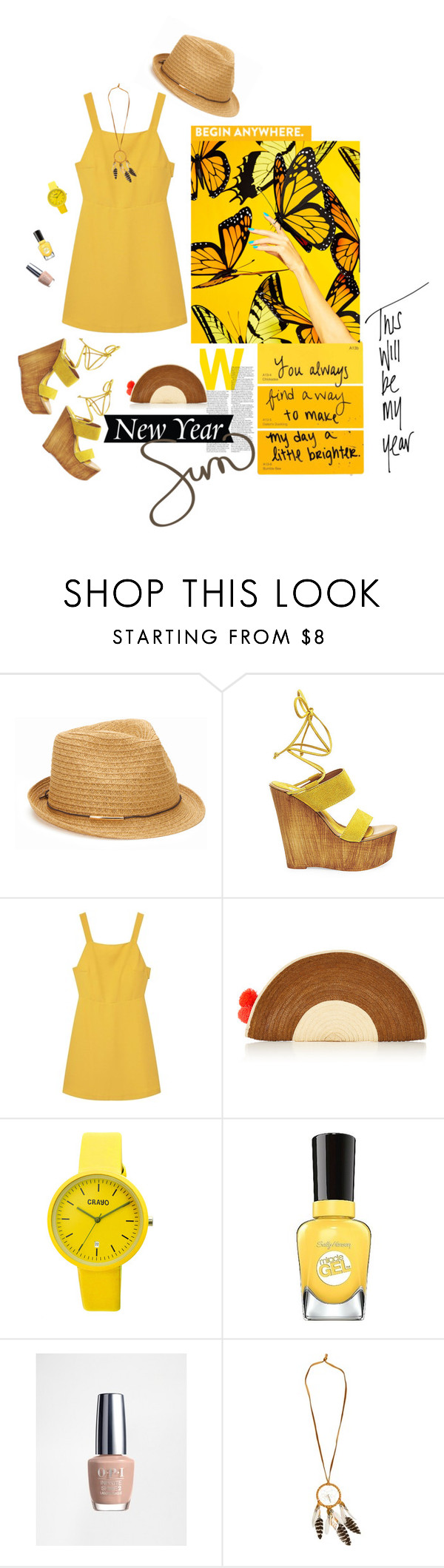 """Beginning the year with sunshine and hope"" by mountainrose ❤ liked on Polyvore featuring San Diego Hat Co., Steve Madden, MANGO, Sophie Anderson, Crayo, Sally Hansen and OPI"