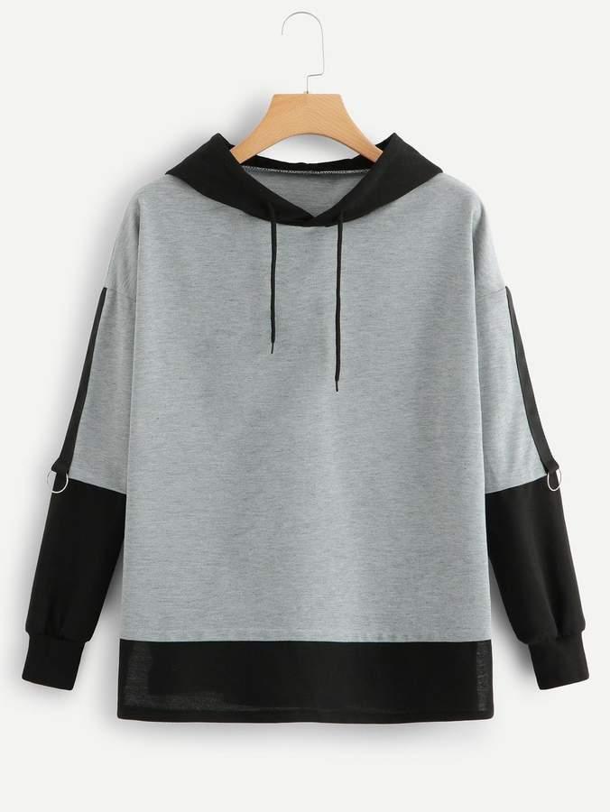 9553af46de Shein Drawstring Hoodie Colorblock Sweatshirt   Products in 2019 ...