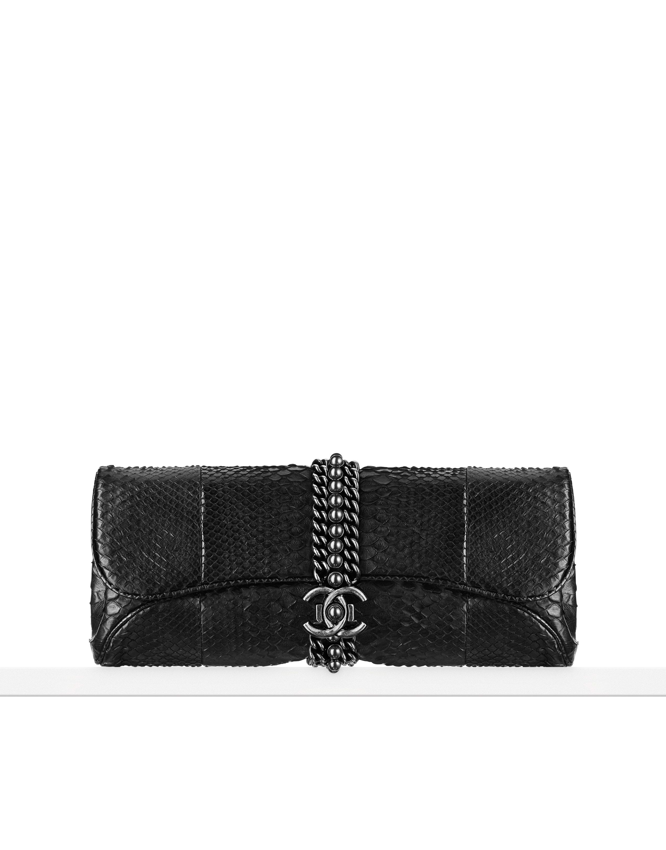 Aged calfskin flap bag embellished... - CHANEL. Python evening ... 827325ebbc1ef