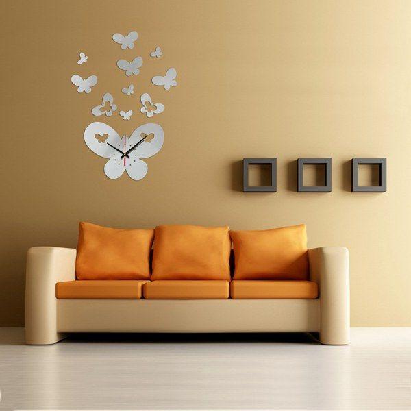 DIY 3d reloj de pared grande de la mariposa espejo acrílico Decor arte