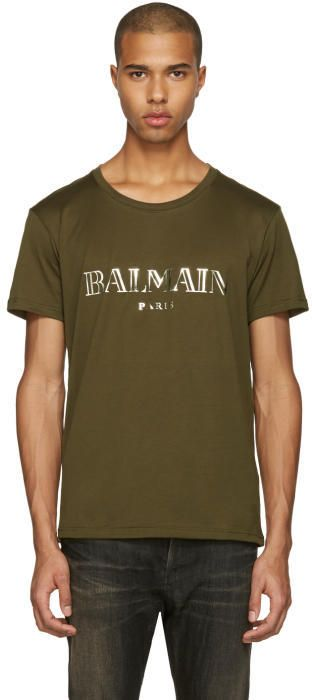 df3d82db Balmain Green Mylar Logo T-Shirt | Products
