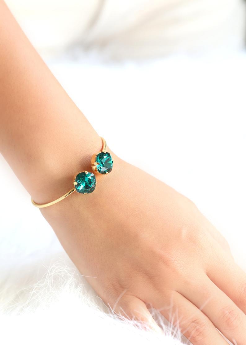 Emerald Green Crystal Bangle Bracelet