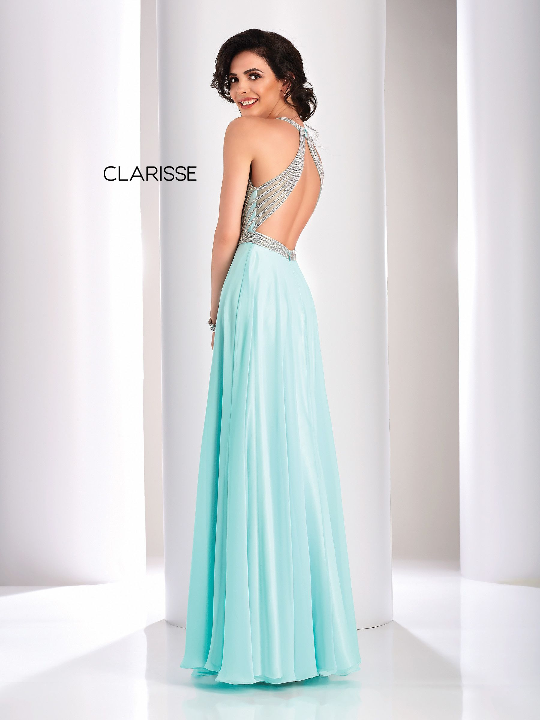 ea3057b52d 3068 - Seafoam green chiffon prom dress with a beaded strip top and open  back