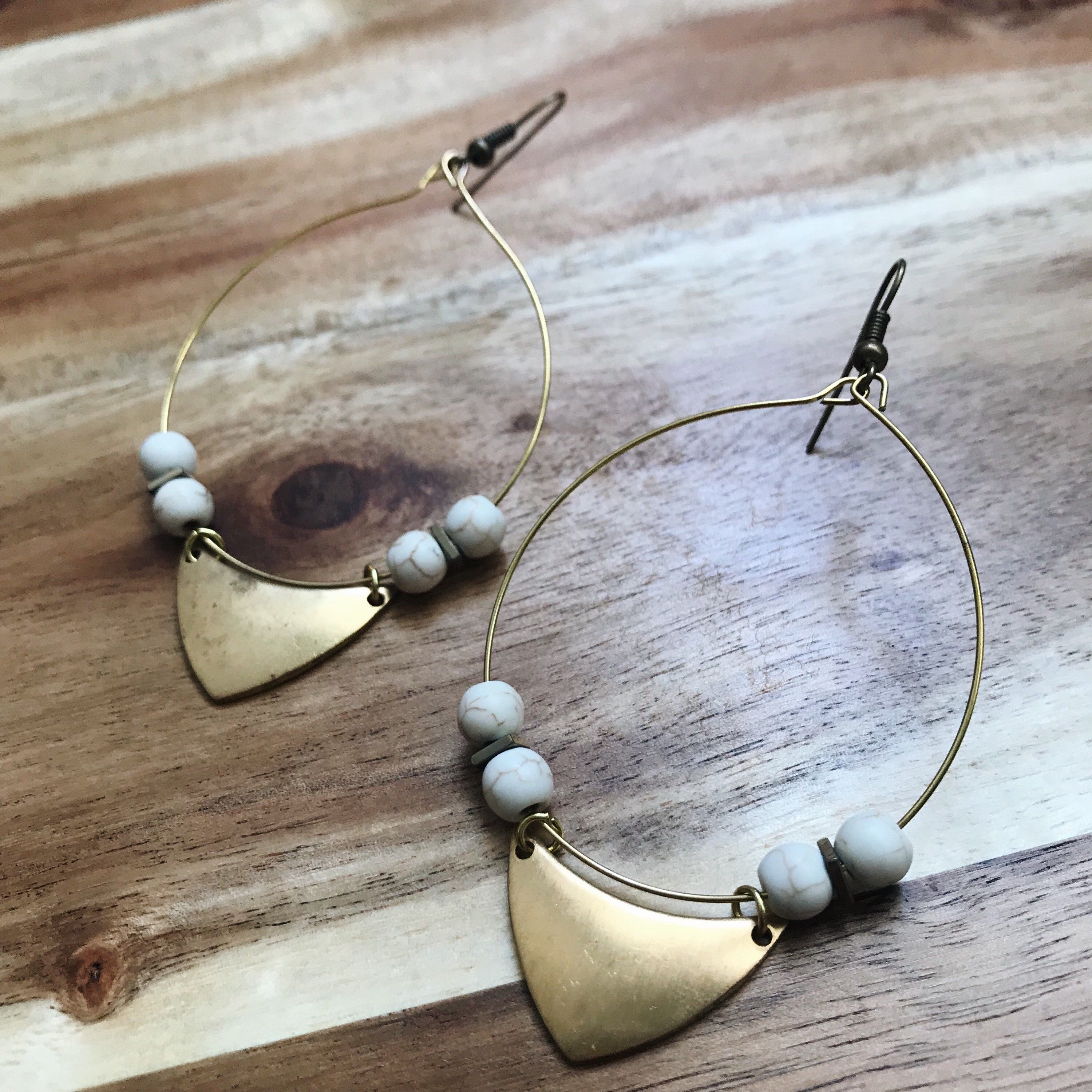 c70ad5bb0 Excited to share the latest addition to my #etsy shop: Large Statement  Earrings + Howlite Stones + Nickel Free + Tarnish Resistant Brass