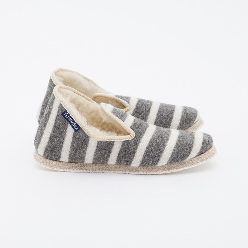 Armor Lux Grey Stripe Slippers - Trouva
