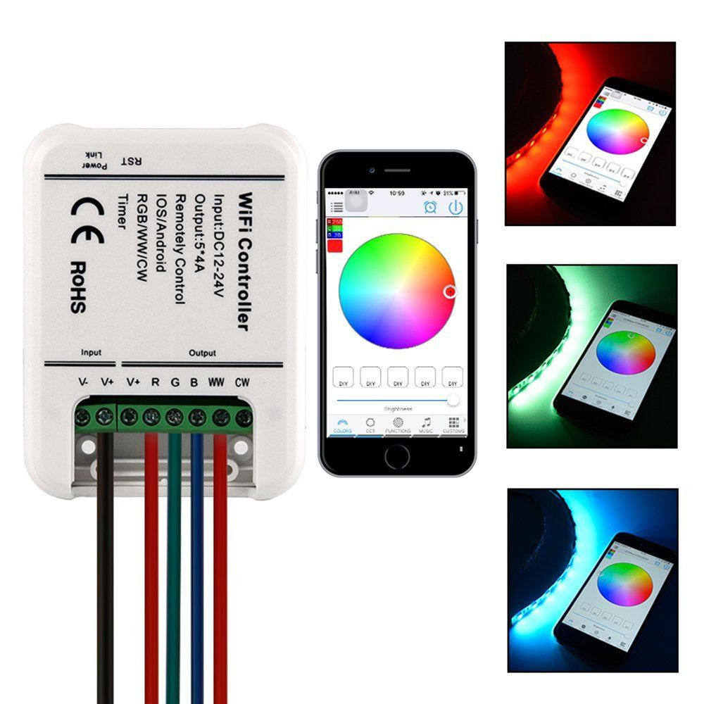 Power 5-10M 5050 RGB LED Strip Light Wifi Controller By iPhone Android APP
