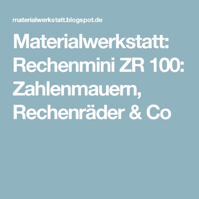 Materialwerkstatt: Rechenmini ZR 100: Zahlenmauern ...