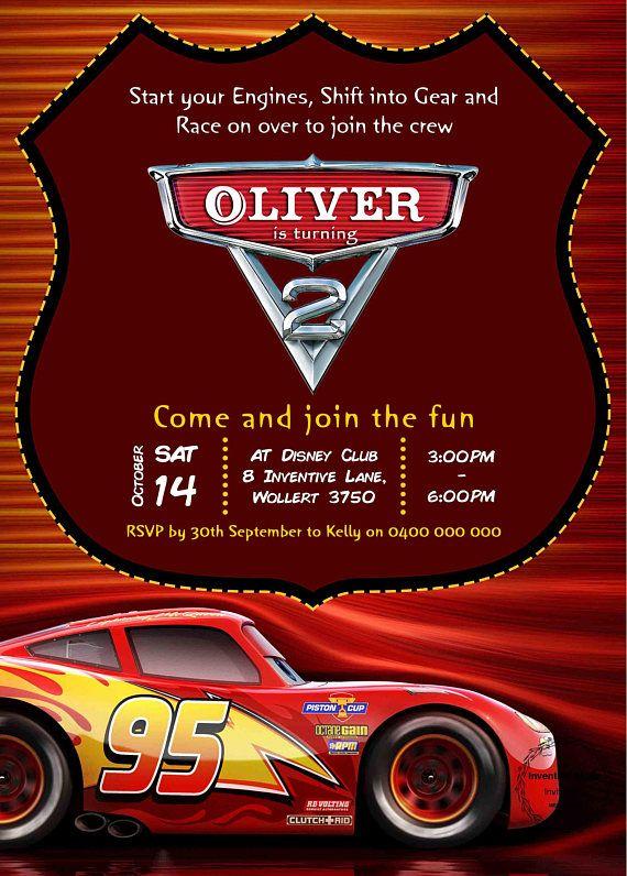 Disney Cars Invitation Birthday Party Lightning McQueen