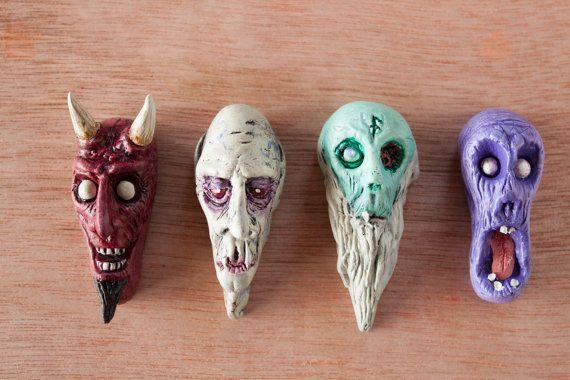 Set of 4 monster magnets - devil, nosferatu, old zombie