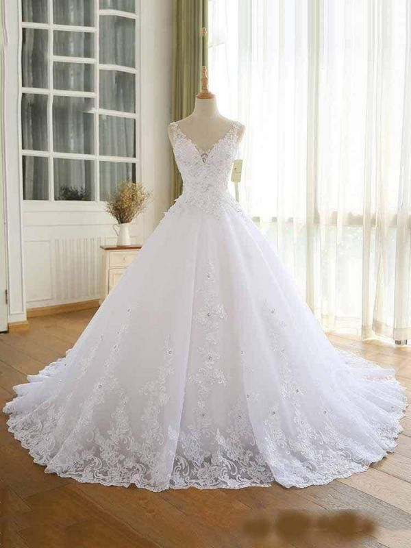 Chicloth Modest V Neck Lace Up Wedding Dresses In 2020 Ball Gowns Wedding Long Sleeve Wedding Dress Lace Boho Wedding Dress Lace