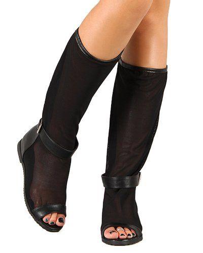 Open Toe Knee High Flat Boot