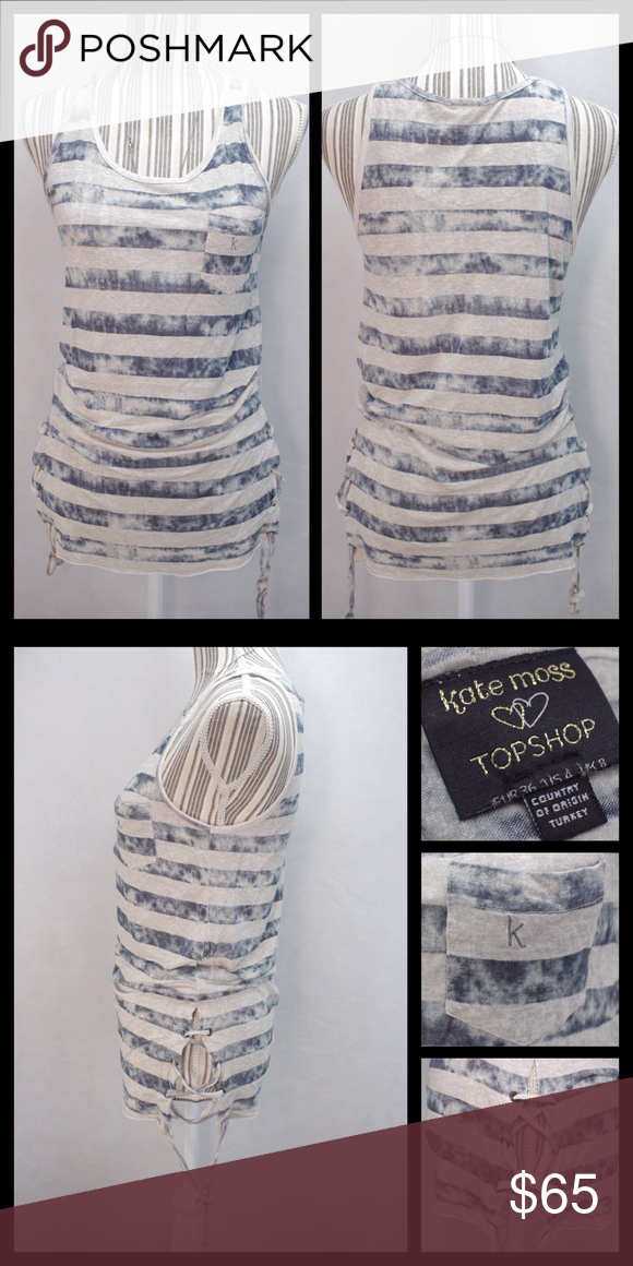 Kate Moss Top Shop Striped Tunic Tank Top Excellent condition, no rips or stains. Beautiful striped tank top with lace detail on the sides. Fits size small or medium. Trade value $80, priced to sell Topshop Tops Tank Tops