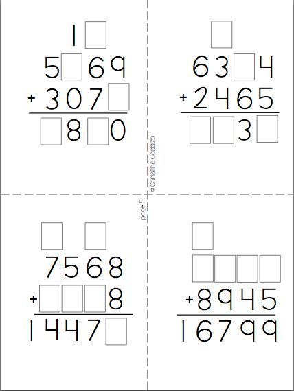 multidigit addition number puzzles- encourage higher order