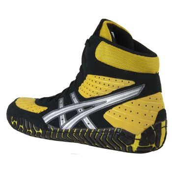 asics black gold wrestling shoes