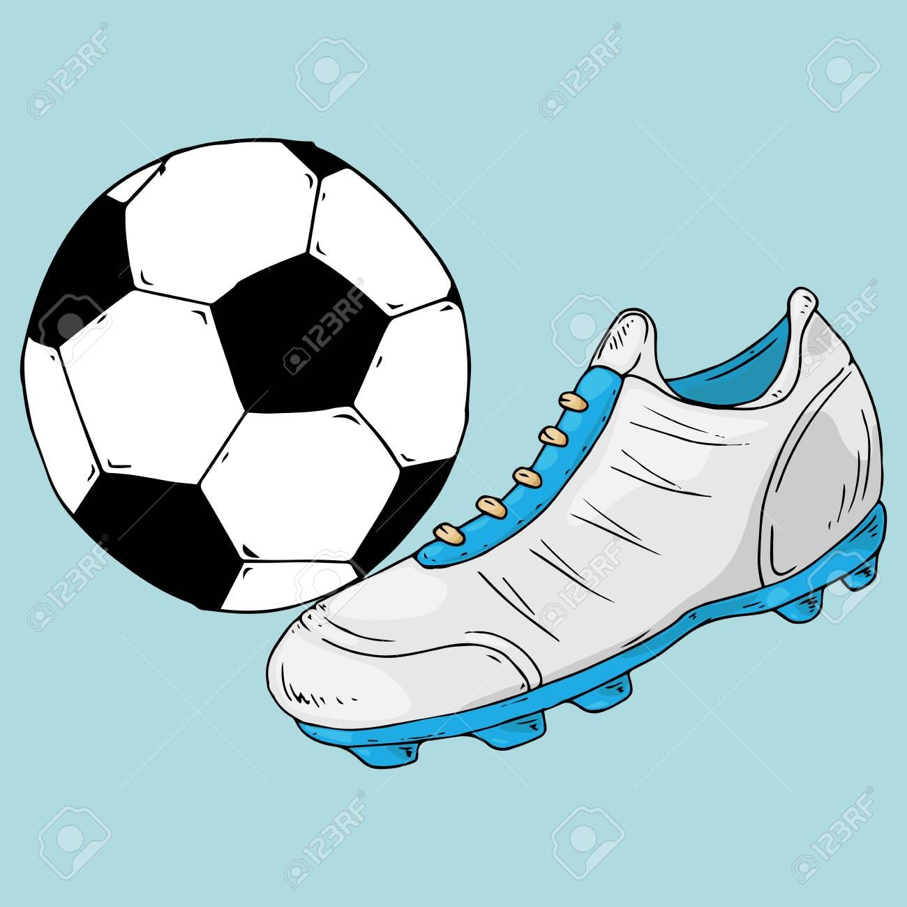 Ball Icon Vector Illustration Of A Soccer Ball With A Football Boot Hand Drawn Shoes And Ball For Playing Soccer Illustration Taschenrechner Taschen Deko