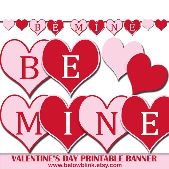 photograph relating to Valentine's Day Printable Decorations known as Be Mine Valentines Working day Banner, Printable Picture Prop Banner