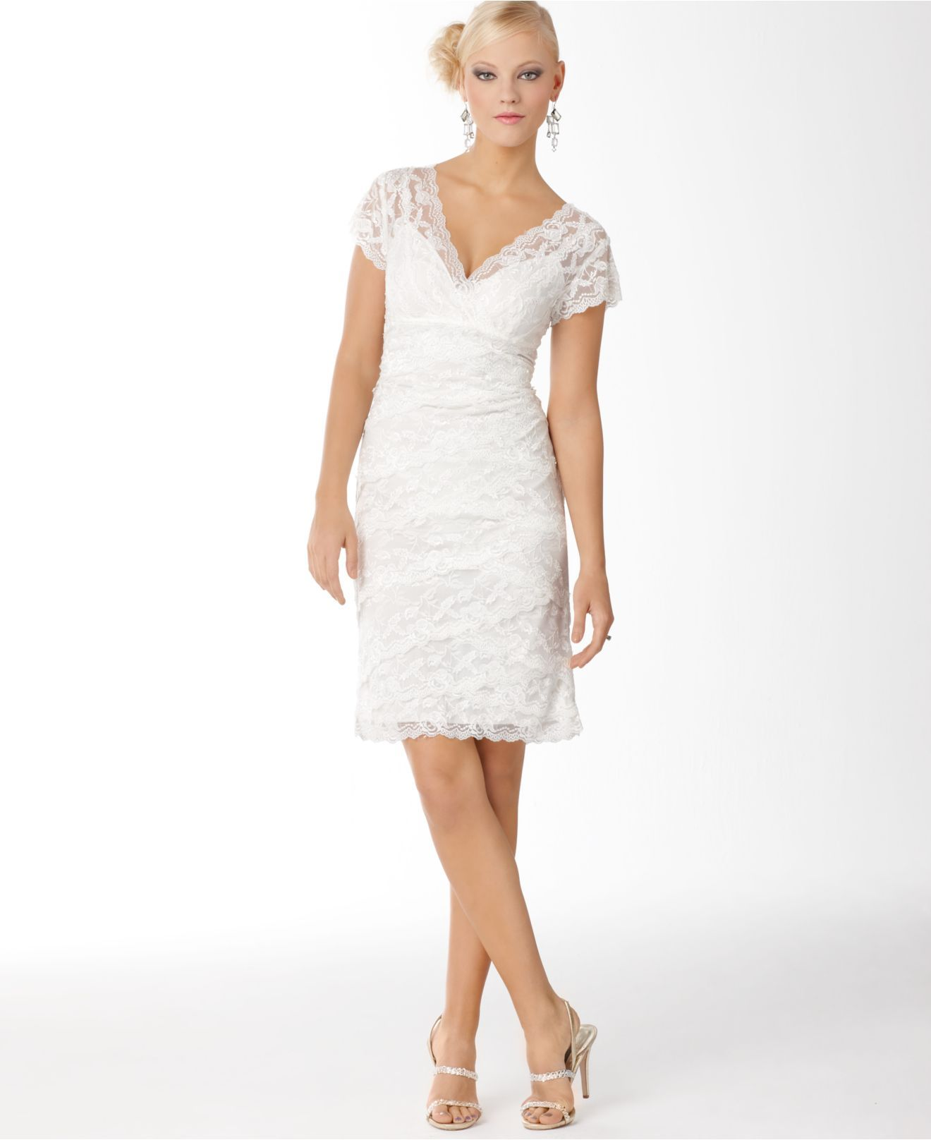 Marina Petite Dress, Cap-Sleeve Beaded Lace - Womens Petite