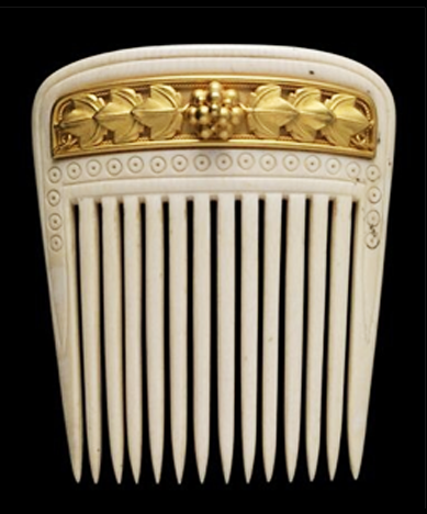 Hair Comb, Gold, ivory. Fortunato Pio Castellani (Italian, 1860-1862) Founder of the Italian jewelry company that carries his name,  Fortuna...