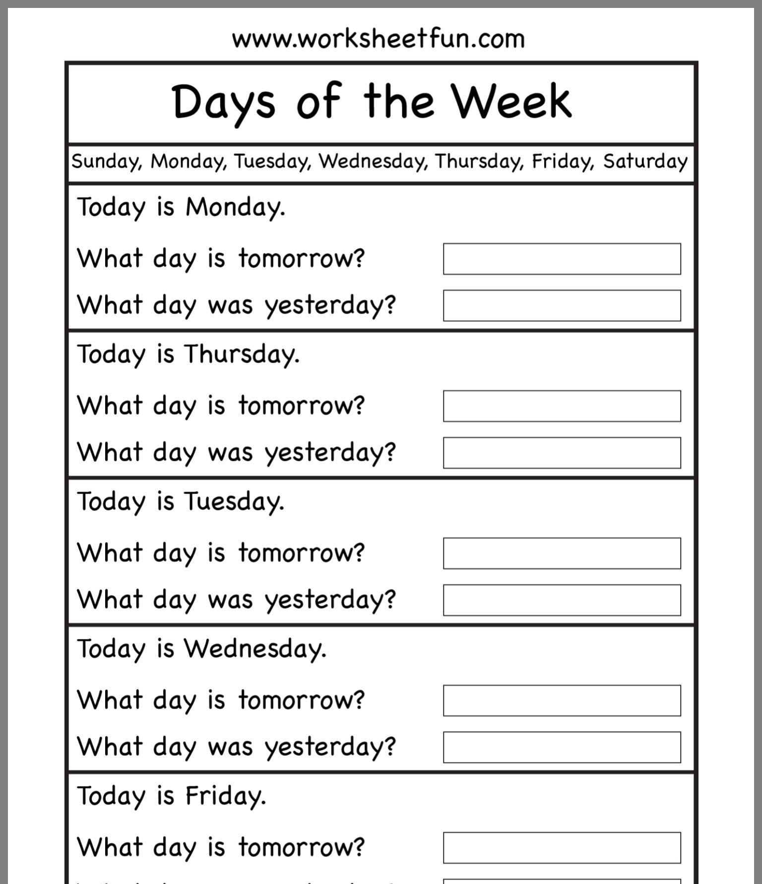 What Day Is It By Amy Norten On English Writing