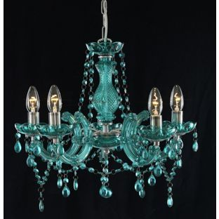 Marie Therese - 5 Light Chandelier - Teal from Homebase.co.uk ...