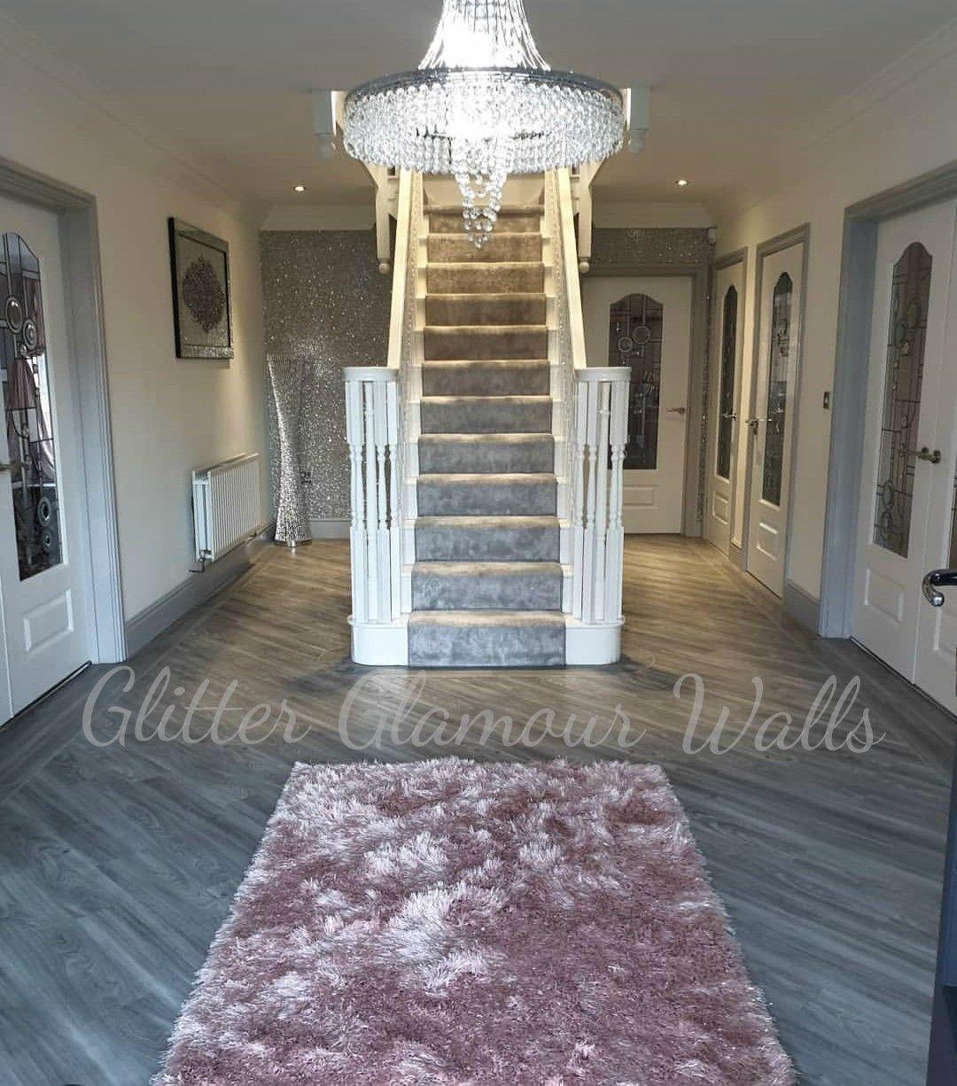 our silver glitter wallcovering Glitter wallpaper, Wall