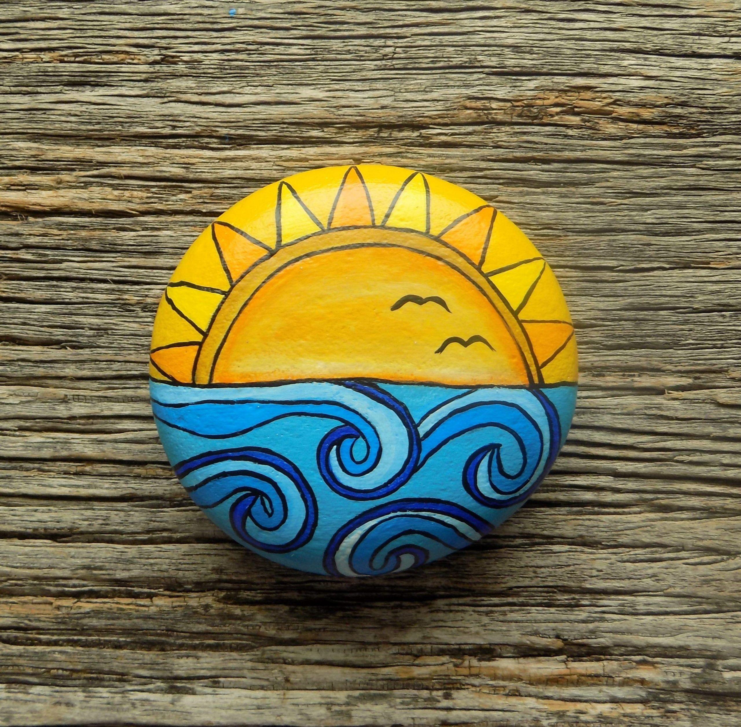 Ocean Sunset Painted Rock Decorative Accent Stone Paperweight Accent Decorative Ocean Paint Rock Painting Patterns Rock Painting Designs Rock Painting Art