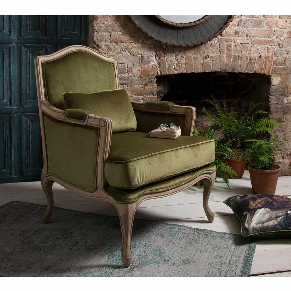 Hathaway Moss Green Velvet Chair   Green Velvet French Armchair
